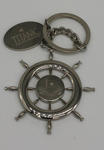 WHITE STAR LINE ETCHED PLUS COORDINATES ON THE BACK KEY RING