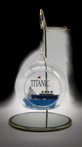 TITANIC GLASS ORNAMENT WITH SHIP AND ICEBERG INSIDE
