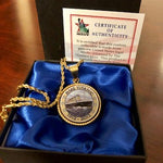 FULL COLOR COIN SHIP AT SEA NECKLACE ON A 18 CHAIN