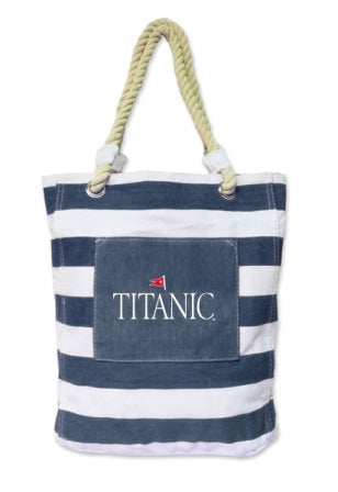 STRIPED WHITE WITH NAVY TOTE