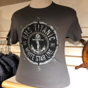 ADULT WHITE STAR LINE COMPASS T SHIRT SIZE SMALL TO XLARGE