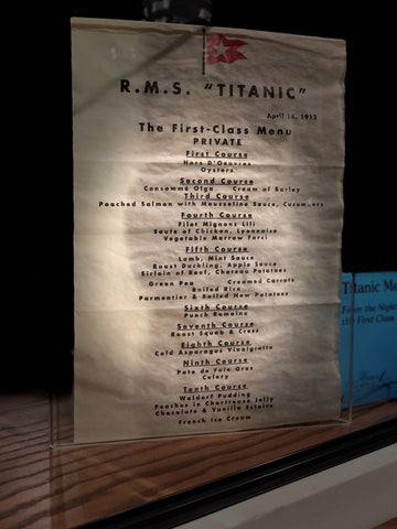 APRIL 14 1912 TITANIC FIRST CLASS DINNER MENU REPRODUCTION
