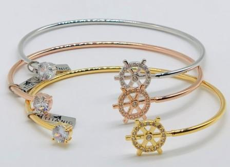 CZ BRACELET WITH SHIP WHEEL