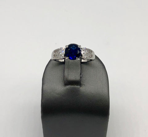 ROUND COBALT SAPHIRE RING WITH CLEAR CZ'S