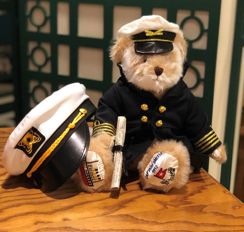 ONLY 20 LEFT IN STOCK ...TITANIC CAPT SMITH PLUSH BEAR WITH FREE YOUTH CAPT HAT