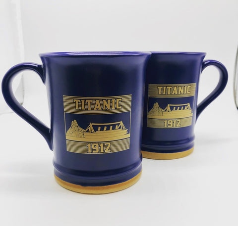 MUG 15 OZ NAVY BROWN TRIM SHIP