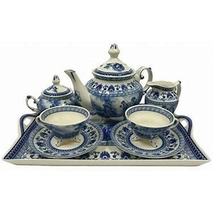 LIBERTY BLUE TRANSFERWARE PORCELAIN TEA SET WITH TRAY