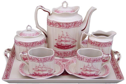 REPRODUCTION TRANSFERWARE PORCELAIN TEA SET