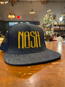 NASH Flat Bill Hat- Gold Lettering