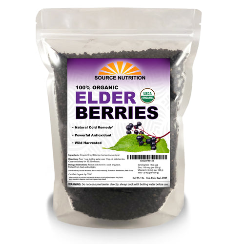 Organic Dried Elderberries - Whole European Elderberry, Responsibly Wild Crafted,  Perfect for Tea, Syrups, and More - Sambucas Nigra - 1 Pound
