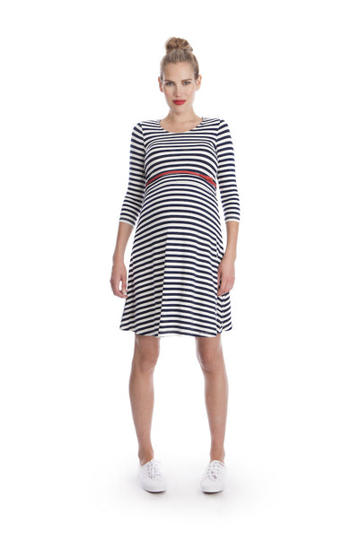 Striped Maternity and Nursing Dress - Nadia Nautical [it] Abito Prémaman e Allattamento a Righe – Nadia Nautical