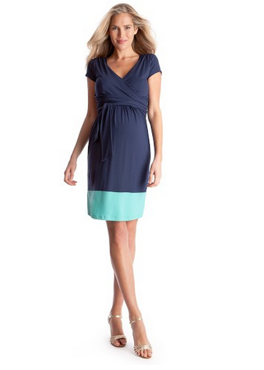 Blue & Aqua Maternity and Nursing Wrap Dress - Enja  [it] Abito premaman e allattamento Enja