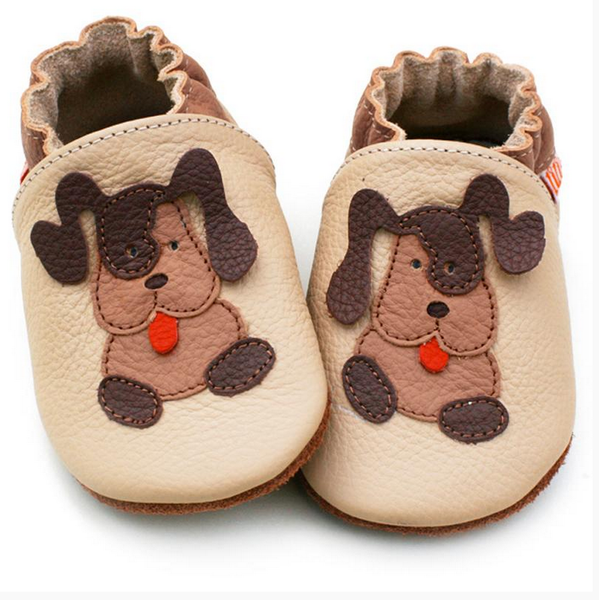 Liliputi Soft Baby Shoes - Beige Doggies [it] Scarpine morbide in pelle - Cagnolino