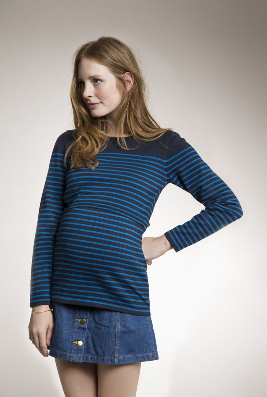 Knitted maternity/nursing jumper with stripes [it] Golf per la gravidanza e l'allattamento a righe