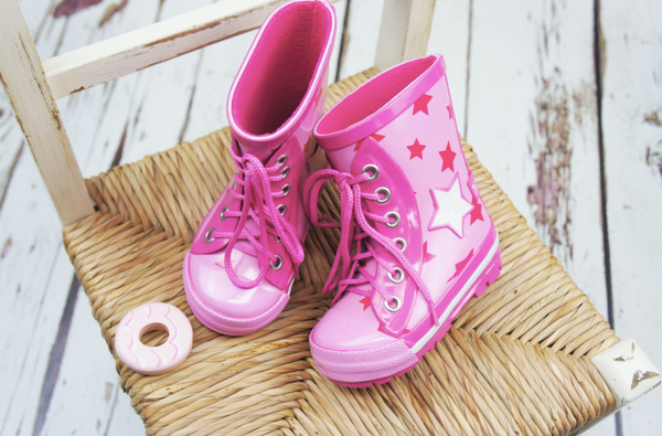 Blade & Rose Pink Star Lace up Wellington Boots- Blade & Rose Stivali Rosa a Stelle con lacci
