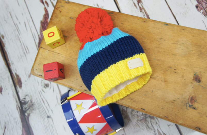 Blade & Rose Bright Stripe Bobble Hat- Blade & Rose Cappellino a righe