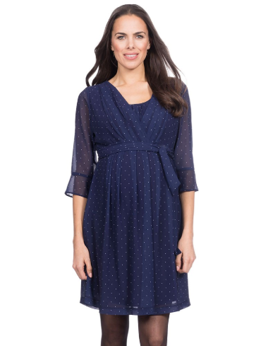 Dorothea Navy Blue Pleated Maternity/Nursing Dress [it] Vestito Dorothea per Gravidanza/Allattamento