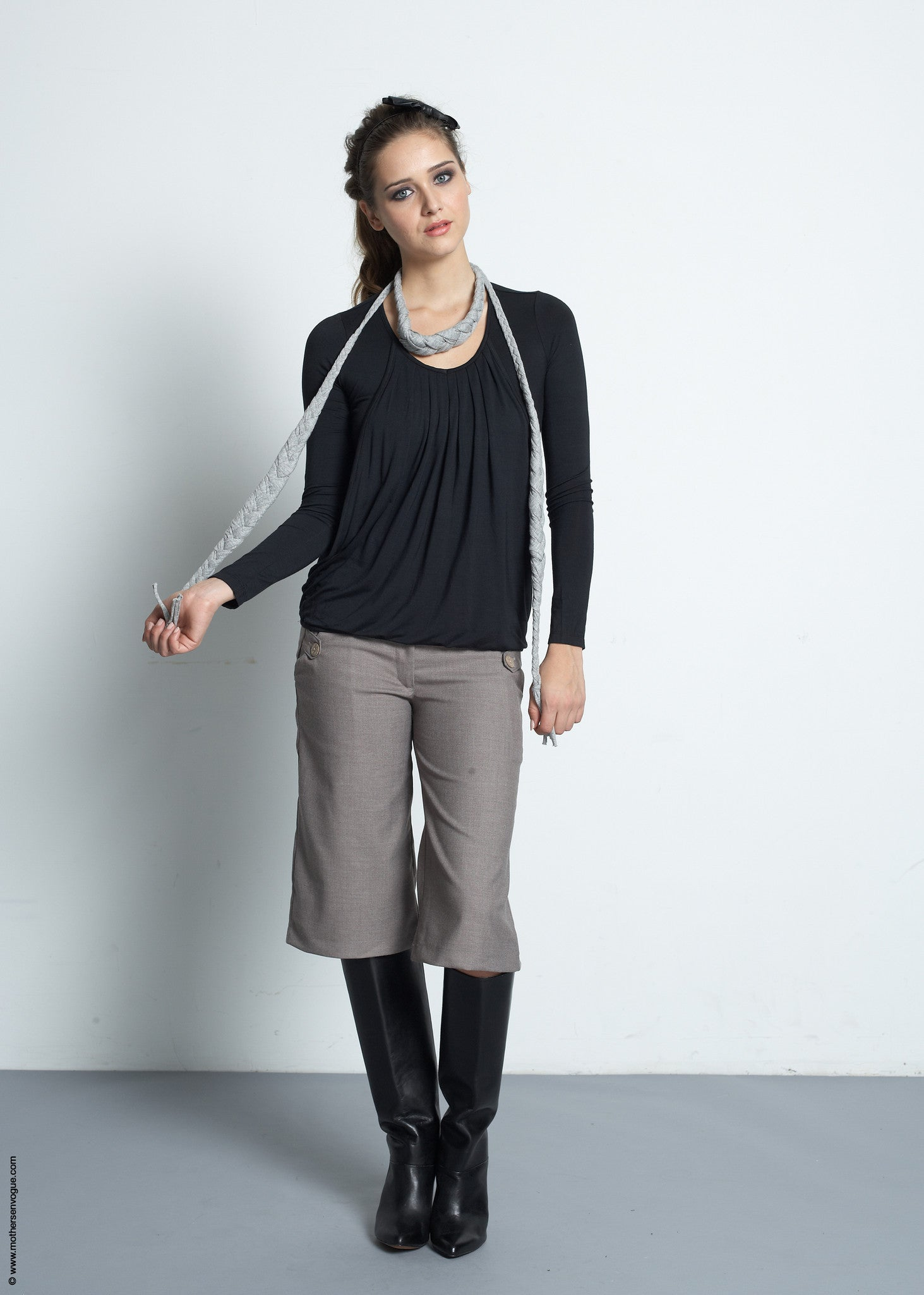 Slouchy Pleated Long Sleeve Top [it] Maglia premaman e allattamento plissettato