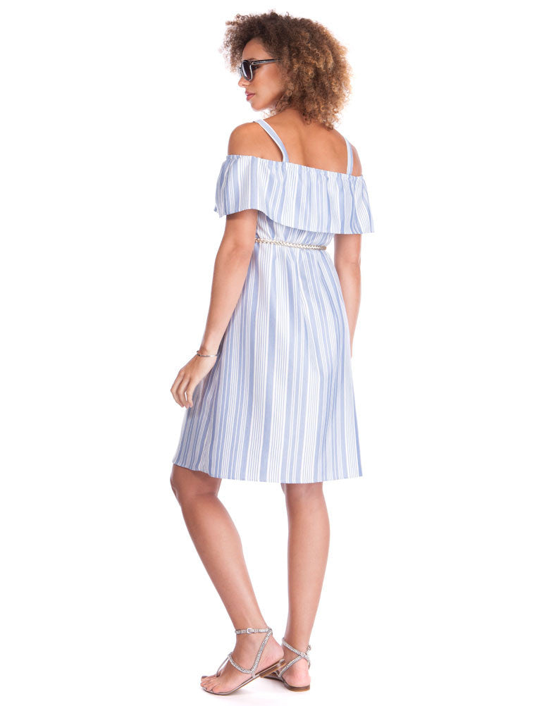Dede Striped Cold Shoulder Maternity Dress