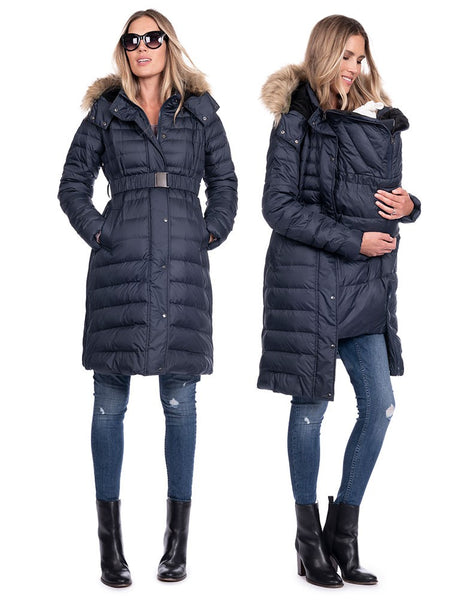 Elle 3 in 1 Down Jacket [it] Giacca Piumino Premaman e Copri Porta Bebè 3 in 1 Elle, Blu