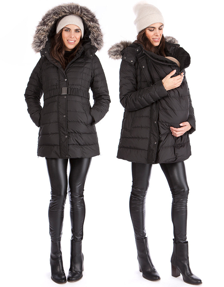 Kingston 3-in-1 Maternity Winter Coat (IT) Cappotto di trasporto nero lungo 3-in-1