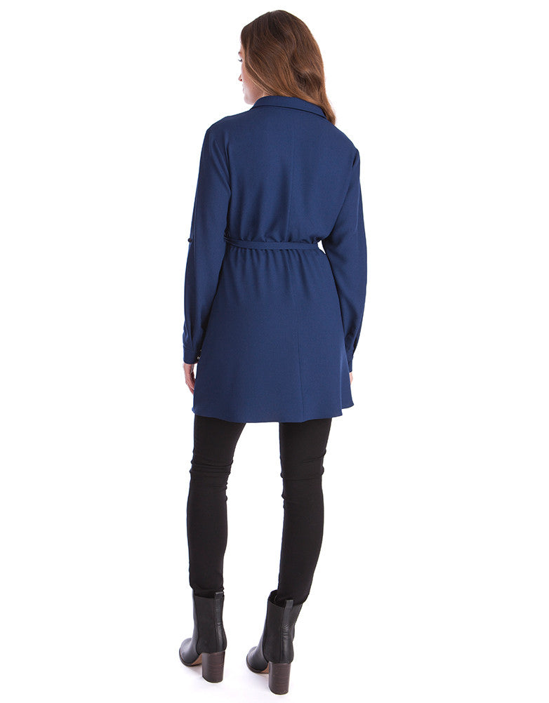 Woven Navy Blue Maternity Tunic