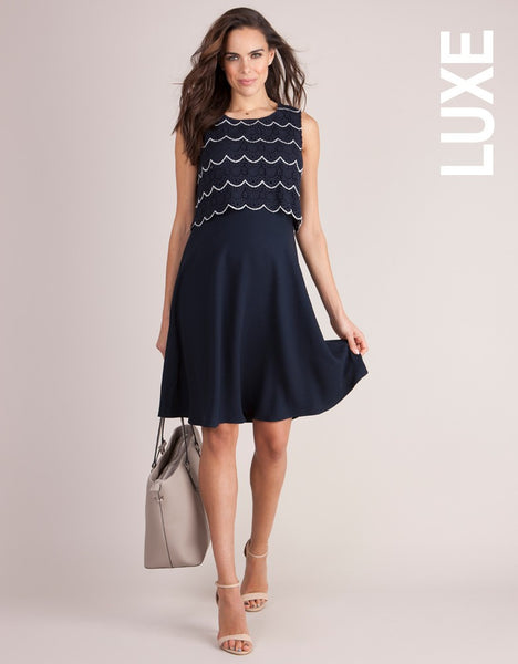Louisa Scalloped Lace Maternity & Nursing Dress [it] Vestito navy per gravidanza e allattamento