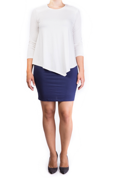 Double layer nursing dress Cream/Navy [it] Abito doppio strato per allattamento Crema/Navy
