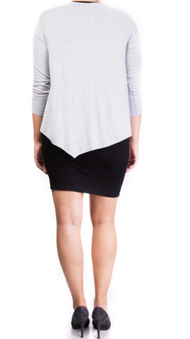 Double layer nursing dress Grey/Black [it] Abito doppio strato per allattamento grigio/nero
