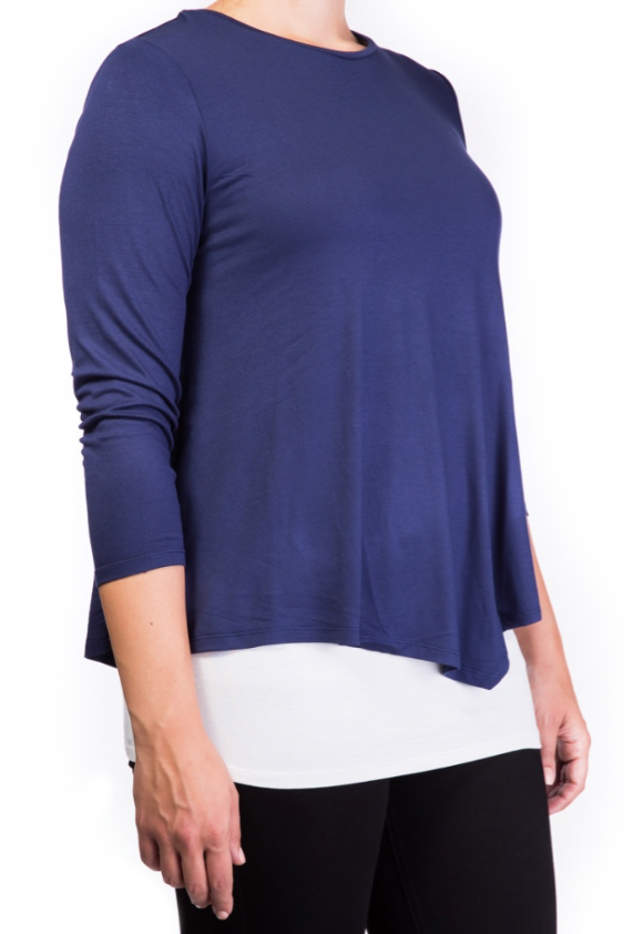 Double layer nursing top Navy [it] Maglietta per allattamento blu navy