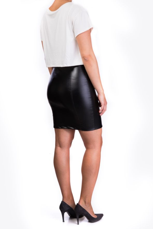 Eco leather skirt nursing dress [it] Abito a doppio strato con gonna in eco pelle
