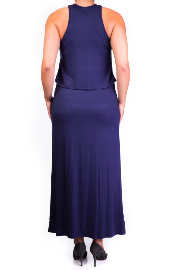 Double layer long maternity and nursing dress blue [it] Abito lungo da gravidanza e allattamento blu