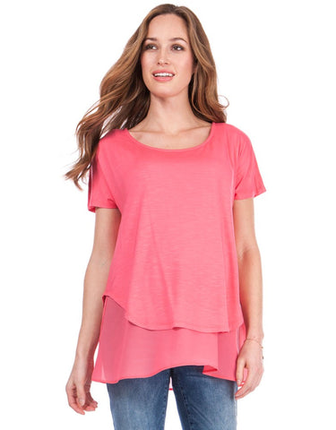 c6fea45859c4a Roxanne Jersey Woven Layer Top ...