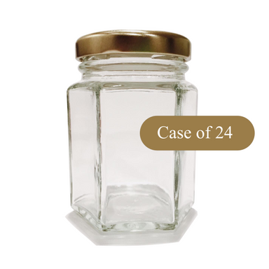 3.7oz Hex Jar - 24 Count Case - Lids Included