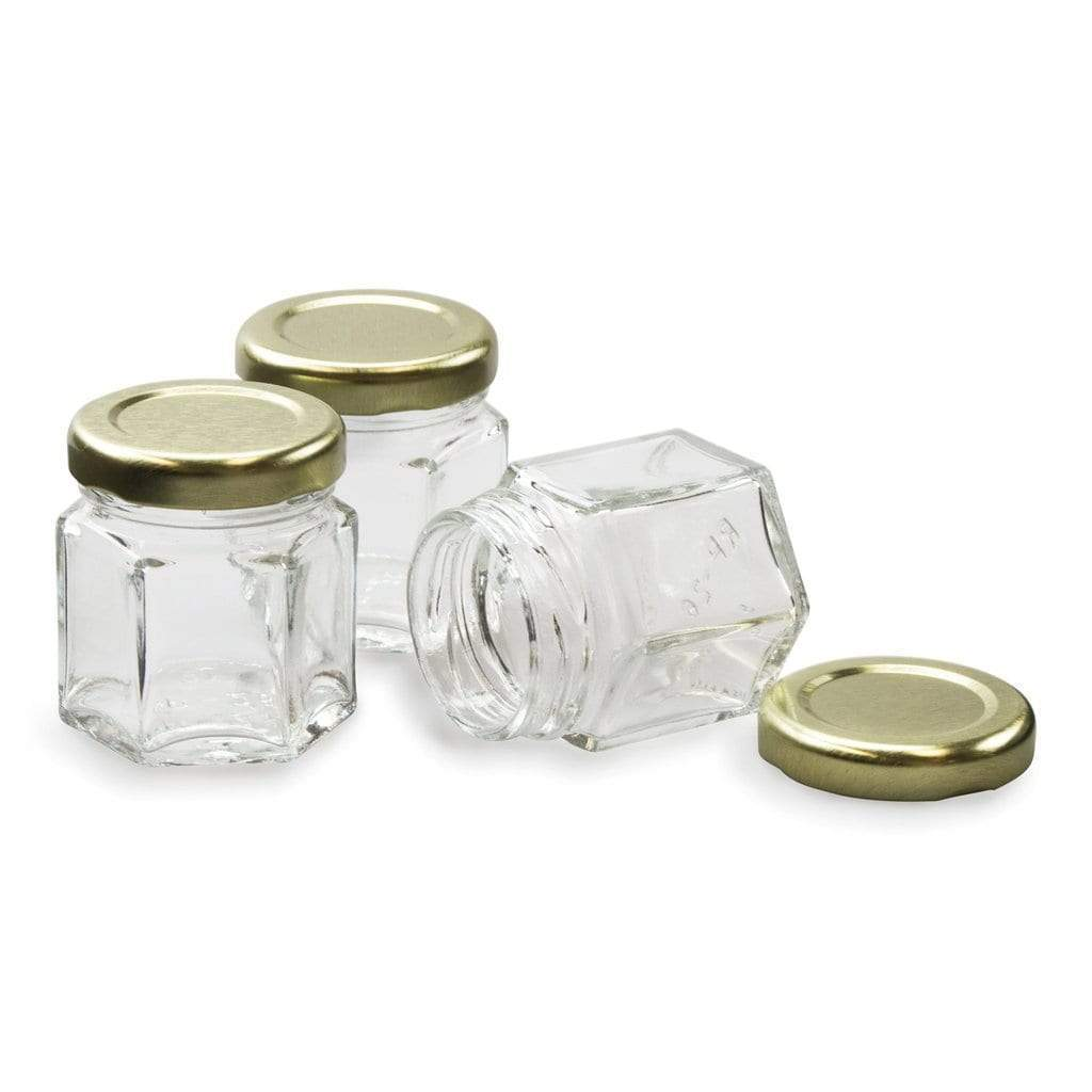 1.5oz Hex Bottle - 24 Count Case - Lids Included