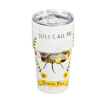 Double Wall Ceramic Companion Cup with Tritan Lid, 13 OZ, Queen Bee