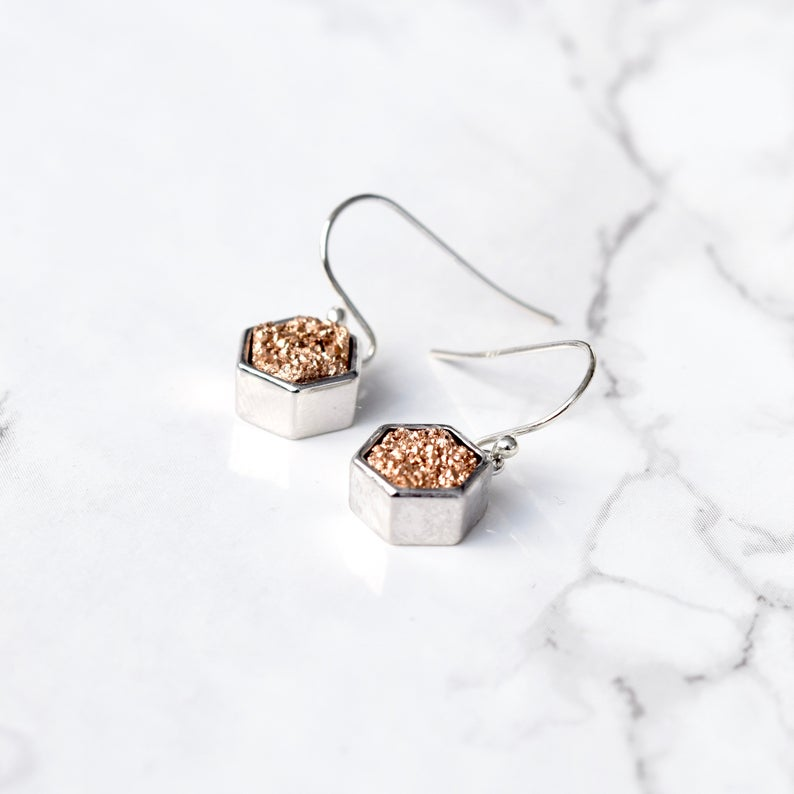 Druzy Hexagon Jewelry Set-Rose Gold