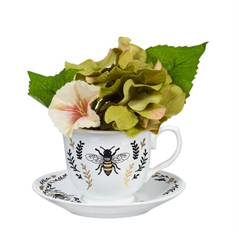 Green Hydrangea in Tea Cup and with Saucer