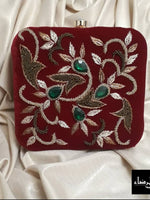 Velvet Embroidery - Square Clutch