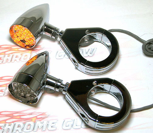 Mini Bullet Style LED Turn Signals with Fork Clamp Kit