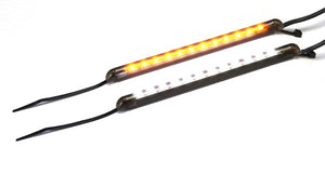 Chrome Glow Motorcycle LED Fork Turn Signals - Dual Color White/Amber