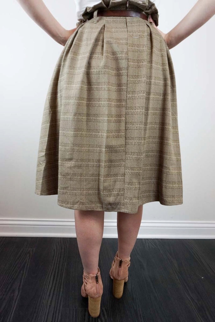 Paper-bag Plaid Skirt