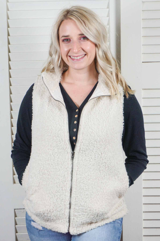 Zip Up Sherpa Vest