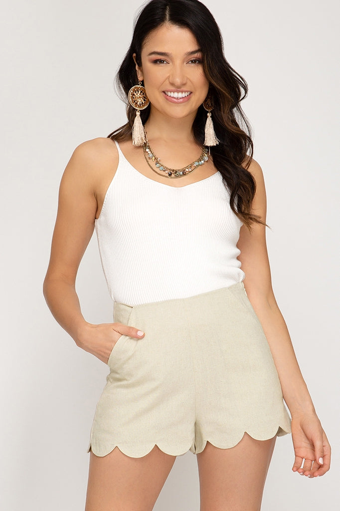 Scalloped High Wasted Shorts