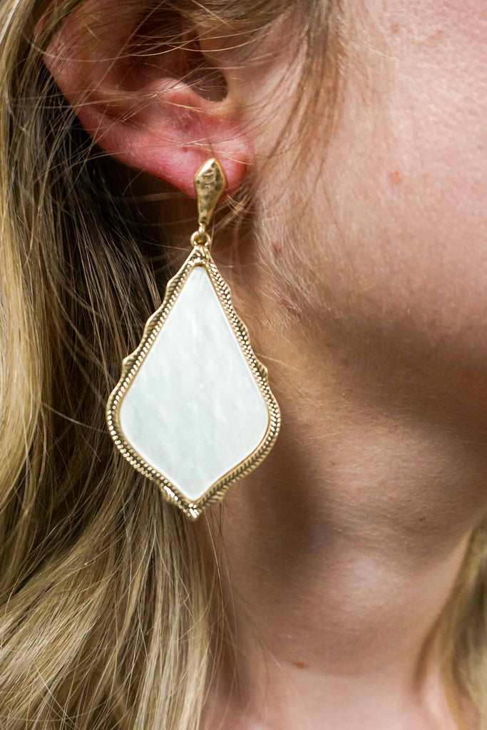 Cream Pressed Shell Pendant Earrings