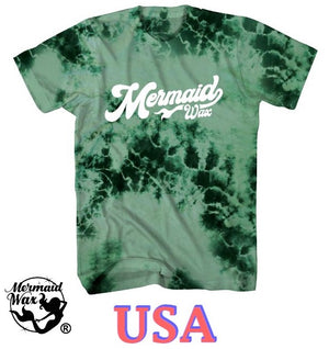 Mermaid Wax T-Shirts | TYE DYE Tail (Green/Dark Green)