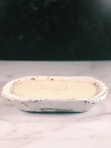 Hand Carved White Dough Bowl Candle - Sully's Candle Co.