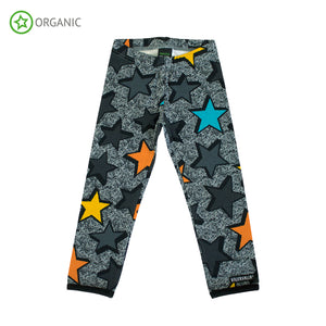 Leggings argento con stelle multicolor