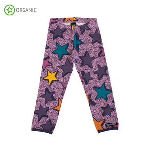 Leggings viola con stelle multicolor