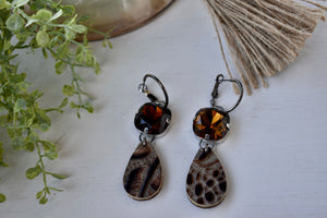 Alligator and Bling Dangle Earrings